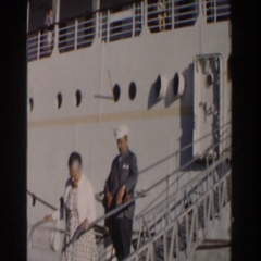 1961: people walking off a boat. NASSAU Stock Footage