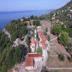 Aerial view of Rezevici Monastery a Serbian Orthodox monastery located in Katun Stock Footage