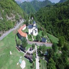 Aerial view of Monastery Moraca Stock Footage