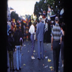 1961: group of people enjoying a community celebration event. NASSAU Stock Footage