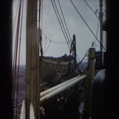 1959: a ship at sea on mildly rough waters Stock Footage