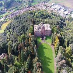 Aerial shot, goregous italian castle, filmed with drone  Stock Footage