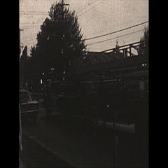 Vintage 16mm film, 1967, fire Bonanza restaurant, people gathered Stock Footage