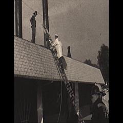 Vintage 16mm film, 1967, fire Bonanza restaurant, ladder Stock Footage