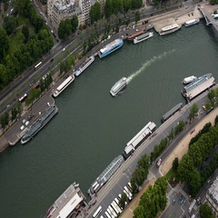 Aerial view on Paris and Sena river from Eiffel tower, Paris, France Stock Footage