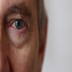 Detail Of Senior Old Man's Eyes, Close Up, White Background Stock Footage
