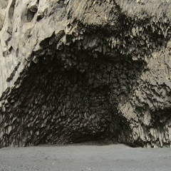 Amazing basalt cave on black sand beach in south of Iceland, static plan in Stock Footage
