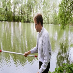 Biologist inspects a water sample Stock Footage