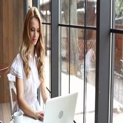 Woman working freelance Stock Footage