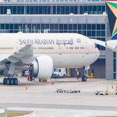 Saudi Arabian Airlines Boeing 777 Close-up at Washington DC Airport Stock Footage