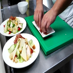 Chef put the slices of bacon on the chopped vegetables, parmesan, cheese Stock Footage