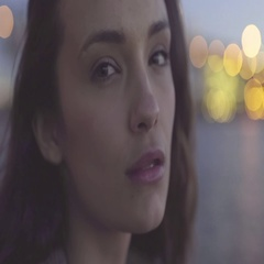 Closeup Of Beautiful Mixed Race Woman's Face, Smiles At Camera, Looks At City Stock Footage