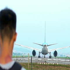 Slow motion Photographer take picture of Jet Airplane Prepares For Take Off-Dan Stock Footage