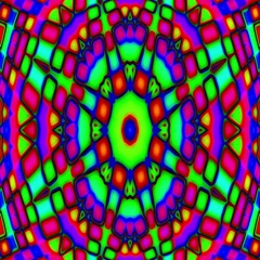 Psychedelic Colorful Stained Glass Kaleidoscope Motion Background Loop Slow Stock Footage