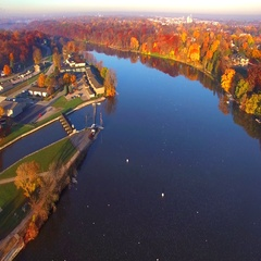 Colorful Autumn aerial flyover of scenic Kaukauna Wisconsin waterfront Stock Footage