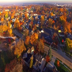 Colorful Autumn aerial flyover of scenic Kaukauna Wisconsin Stock Footage