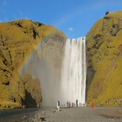 Skogafoss, famous icelandic waterfall on southern coast, timelapse in sunny Stock Footage