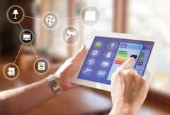 Smart home , connected house concept device tablet Stock Photos