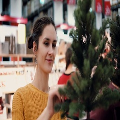 Young attractive brunette girl at the store chooses an artificial Christmas tree Stock Footage