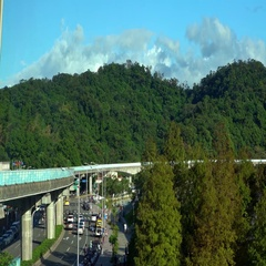 4K An elevated train travels over a line of traffic near to the park-Dan Stock Footage
