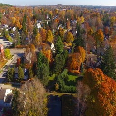 Colorful Autumn aerial flyover of scenic Sturgeon Bay, Wisconsin Stock Footage