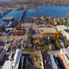 Crisp Autumn day, aerial flyover of Sturgeon Bay, Wisconsin Stock Footage