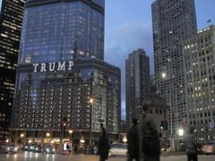 Trump Tower street scene at night Stock Footage