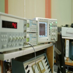 Equipment for measuring electrical signals is in the physical laboratory. The Stock Footage
