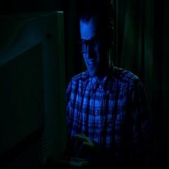Computer Nerd at night Stock Footage