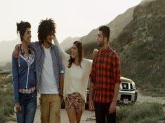Friends spending leisure time outdoors. Stock Footage