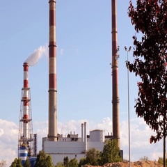 Industrial smoke from the chimneys against the blue clear sky. Stock Footage