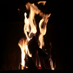 Clip of a fireplace with medium size flames Stock Footage