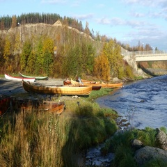Pan view on kayaks at Alta river, in Finnmark, Norway Stock Footage