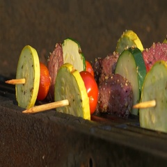 Slow Pan of Kabobs on the Grill, 4K Stock Footage