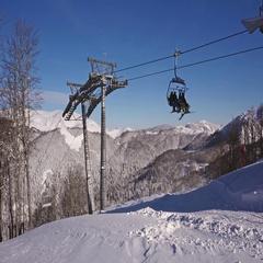 Panning shot of ski resort in winter Stock Footage