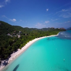 Aerial view of Lindquist beach, St Thomas, United States Virgin Islands Stock Footage