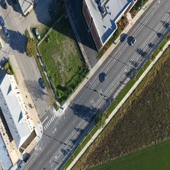 Birdseye view of City street Stock Footage