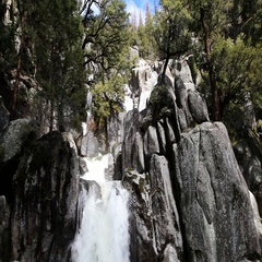 Waterfall Cascading Over Granite Rock Yosemite Park California Stock Footage