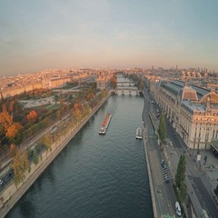 Aerial view of Paris during sunset Arkistovideo