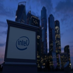 Street signage board with Intel Corporation logo in the evening. Blurred Stock Footage