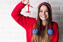 Young Girl with a Gift. Winter Concept. Stock Photos
