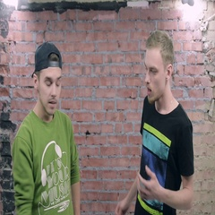 Two young men depict conversation between drunk people. Smiles. Casting. Boozy Stock Footage