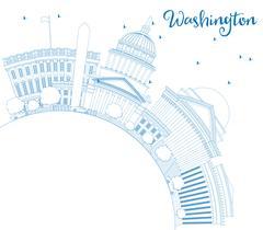Outline Washington DC Skyline with Blue Buildings Stock Illustration