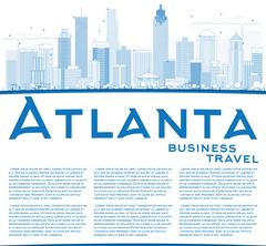 Outline Atlanta Skyline with Blue Buildings Piirros