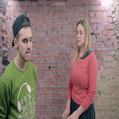 Young blonde girl conflict, dispute with man in cap. Controversy. Actor casting Stock Footage