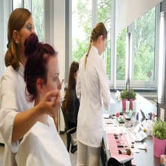 Beautician makeup a young woman. Stock Footage