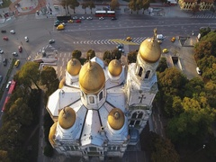 The Cathedral of the Assumption in Varna, Aerial view, video Stock Footage