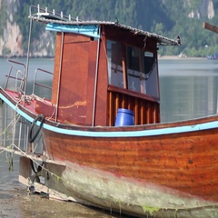 Fishing boat aground Stock Footage