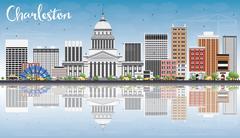 Charleston Skyline with Gray Buildings, Blue Sky and Reflections. Stock Illustration