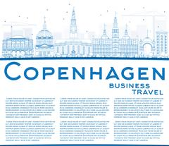 Outline Copenhagen Skyline with Blue Landmarks and Copy Space. Stock Illustration